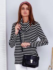 Czarno-biała bluzka w paski z łańcuszkiem