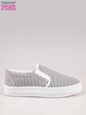 Czarno-białe buty slip on w paski na grubej podeszwie