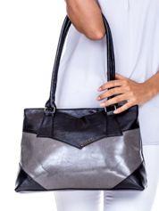 Czarno-szara torebka damska ze skóry ekologicznej