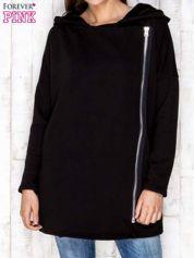 Czarny płaszcz dresowy z asymetrycznym suwakiem