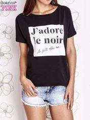 Czarny t-shirt z napisem J'ADORE LE NOIR