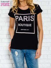 Czarny t-shirt z napisem PARIS BOUTIQUE z dżetami