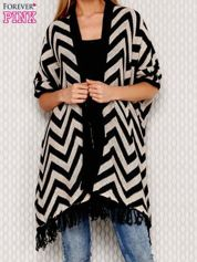 Czarny wzorzysty sweter z frędzlami