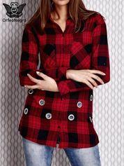 Czerwona ażurowana koszula w kratę