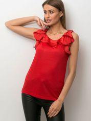 Czerwona bluzka damska z falbankami przy dekolcie