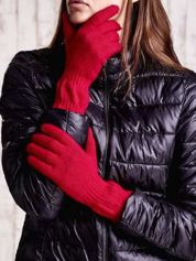 Czerwone długie rękawiczki z przeszywanym ściągaczem