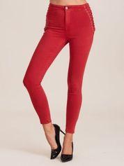 Czerwone spodnie high waist ze stretchem