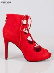 Czerwone sznurowane botki lace up open toe z zamkiem