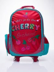 Czerwony plecak szkolny na kółkach walizka DISNEY w wisienki