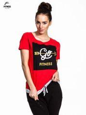 For Fitness Czerwony t-shirt z napisem GO FITNESS
