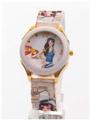 Damski zegarek. Kolorowy rysunkowy motyw na tarczy oraz silikonowym pasku.