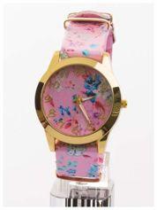 Damski zegarek. Motyw kwiatowy na tarczy oraz pasku. Idealny na lato.