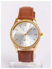 Damski zegarek z cyrkoniami z dużą wyraźną tarczą