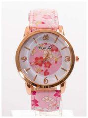 Damski zegarek z motywem kwiatowym na tarczy oraz pasku