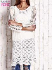 Ecru ażurowy sweter sukienka
