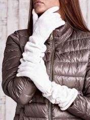 Ecru długie rękawiczki z marszczonym ściągaczem