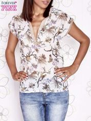 Ecru koszula z kwiatowym motywem i ażurowym tyłem