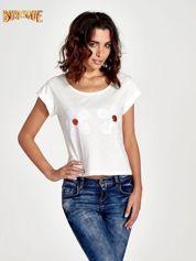 Ecru krótki t-shirt z kwiatkami z cekinów