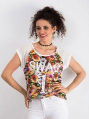 Ecru kwiatowy t-shirt z siateczkowym tyłem