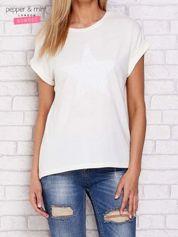 Ecru t-shirt z cekinową gwiazdą