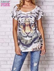 Ecru t-shirt z nadrukiem tygrysa