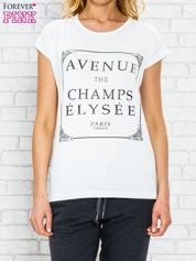 Ecru t-shirt z napisem AVENUE THE CHAMPS ÉLYSÉE