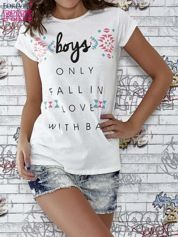 Ecru t-shirt z napisem BOYS ONLY FALL IN LOVE WITH BAD