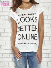 Ecru t-shirt z napisem EVERYBODY LOOKS BETTER ONLINE