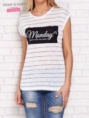 Ecru t-shirt z napisem MONDAY