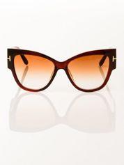 """FANDIA Duże damskie brązowe eleganckie okulary GWIAZD """"CAT EYE"""""""