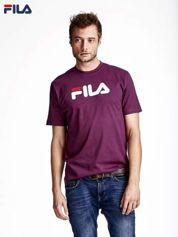 FILA Ciemnofioletowy t-shirt męski z nadrukiem