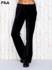 FILA Czarne welurowe spodnie dresowe z kieszeniami