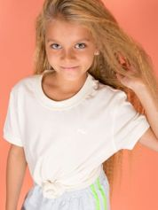 FILA Ecru t-shirt dla dziewczynki basic