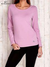 Fioletowa gładka bluzka sportowa z dekoltem U PLUS SIZE
