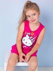 Fuksjowa sukienka dla dziewczynki z kokardkami HELLO KITTY