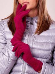 Fuksjowe rękawiczki z długim ściągaczem