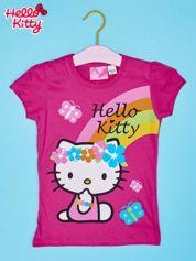 Fuksjowy t-shirt dla dziewczynki nadruk HELLO KITTY