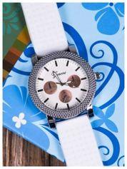 GENEVA Biały zegarek damski na miękkim żelowym pasku
