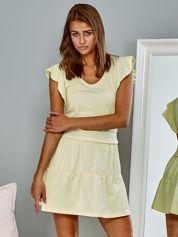 Gładka bawełniana sukienka letnia z motylkowym rękawem żółta