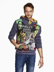 Grafitowa bluza męska z kapturem z nadrukiem reggae