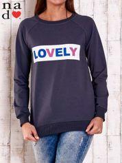 Grafitowa bluza z napisem LOVELY