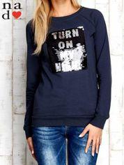 Grafitowa bluza z podwójną naszywką z cekinów