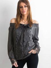 Grafitowa bluzka hiszpanka z koronką