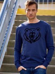 Granatowa bluza męska z niedźwiedziem