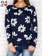 Granatowa bluza z nadrukiem kwiatowym