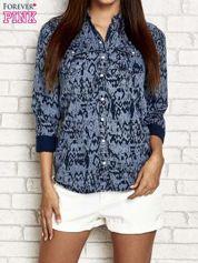 Granatowa denimowa koszula z nadrukiem