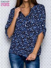 Granatowa koszula z kwiatowym nadrukiem