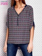 Granatowa wzorzysta koszula z dżetami