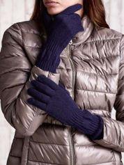 Butik Granatowe długie rękawiczki z przeszywanym ściągaczem