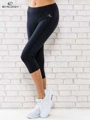 Granatowe legginsy 3/4 sportowe termalne z lampasami